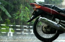 rain on a motorcycle
