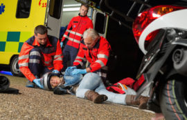 Motorcycle accident injury victim rescued by paramedics.